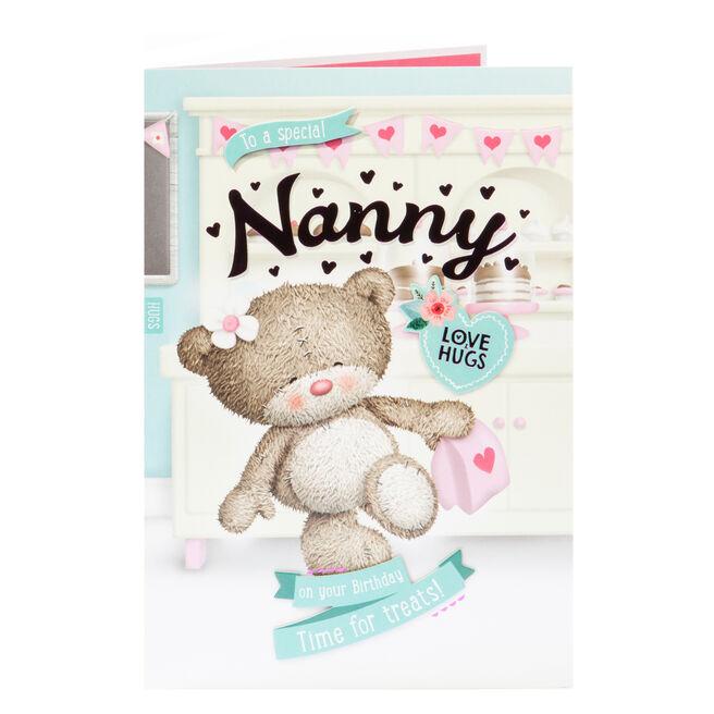 Hugs Bear Birthday Card - To A Special Nanny