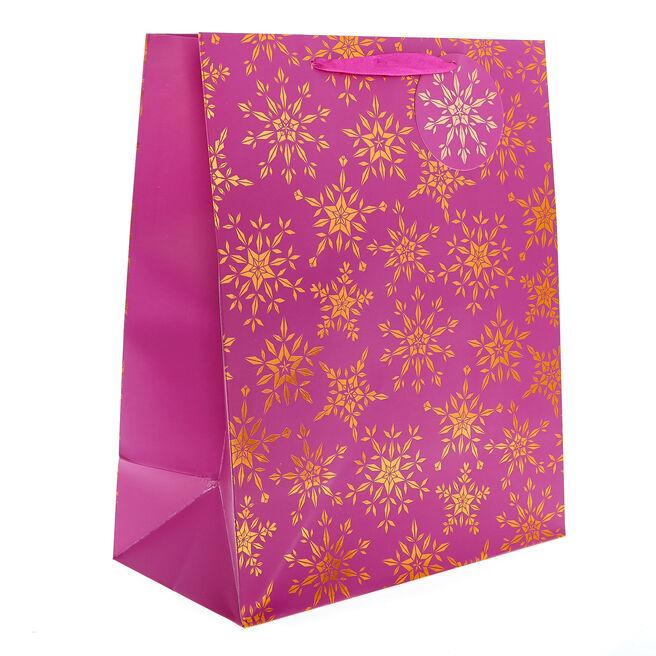 Medium Portrait Pink & Bronze Snowflakes Christmas Gift Bag
