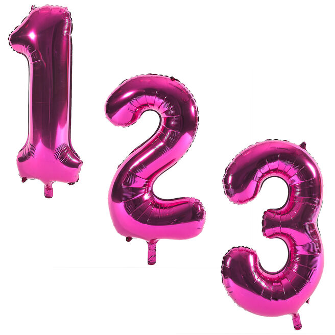Pink Giant Number Helium Balloons 0-9 - INFLATED