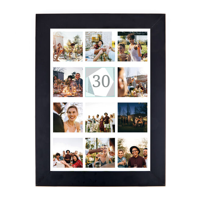 Personalised 30th Milestone Age Photo Print - Geometric Mint