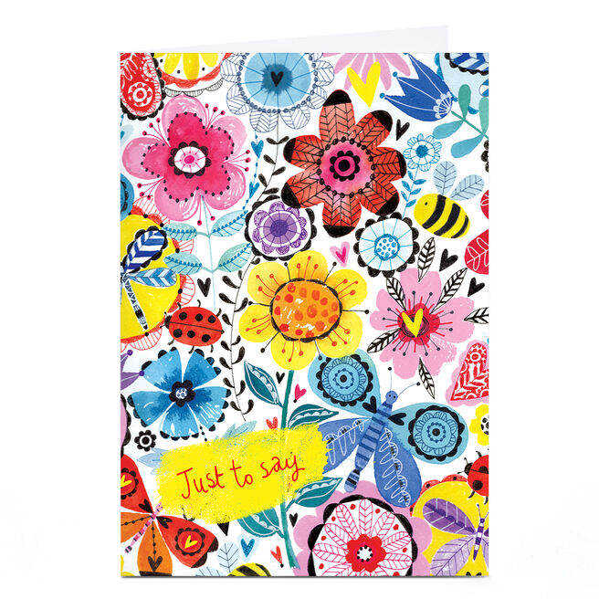 Personalised Lindsay Loves to Draw Card - Just To Say Flowers