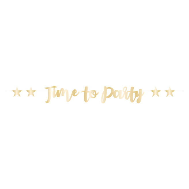 Gold Time To Party Script Letter Banner