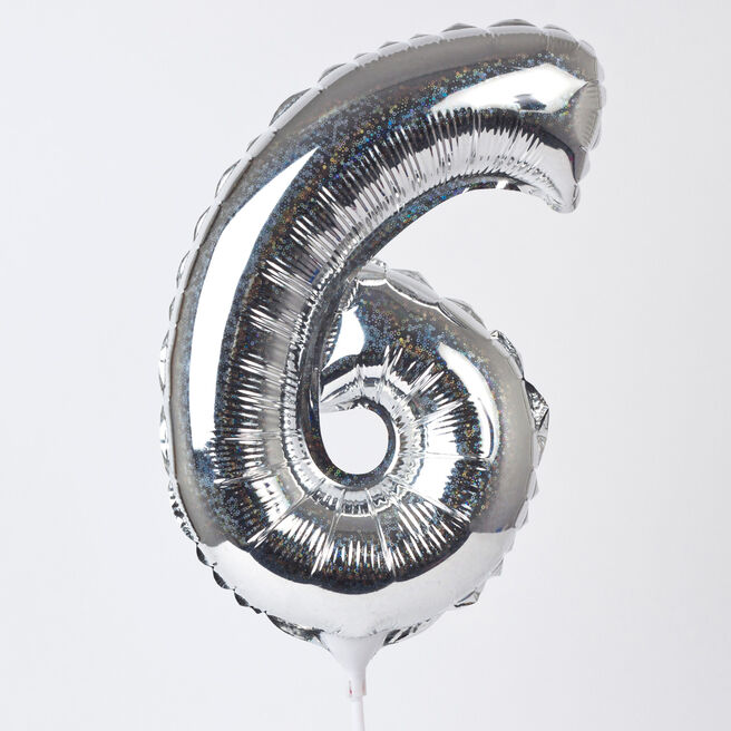 Holographic Silver Number 6 Balloon On A Stick