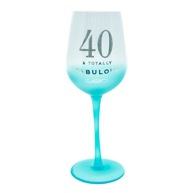 40th Birthday Wine Glass - Totally Fabulous