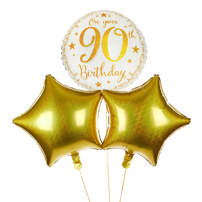 Gold Stars 90th Birthday Balloon Bouquet - DELIVERED INFLATED!