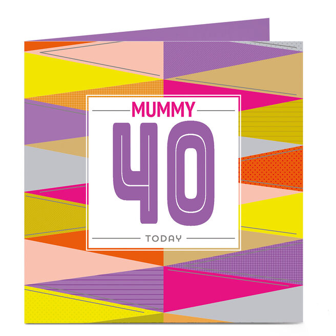 Personalised Any Age Birthday Card - Vibrant ZigZags Mum