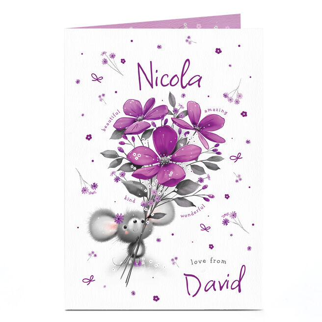 Personalised Card - Mouse & Flowers