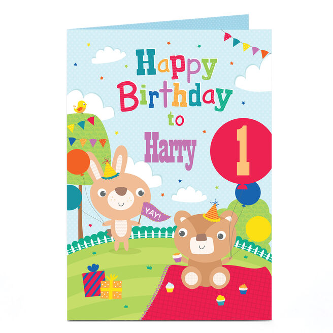 Personalised Any Age Birthday Card - Animal's Picnic Party