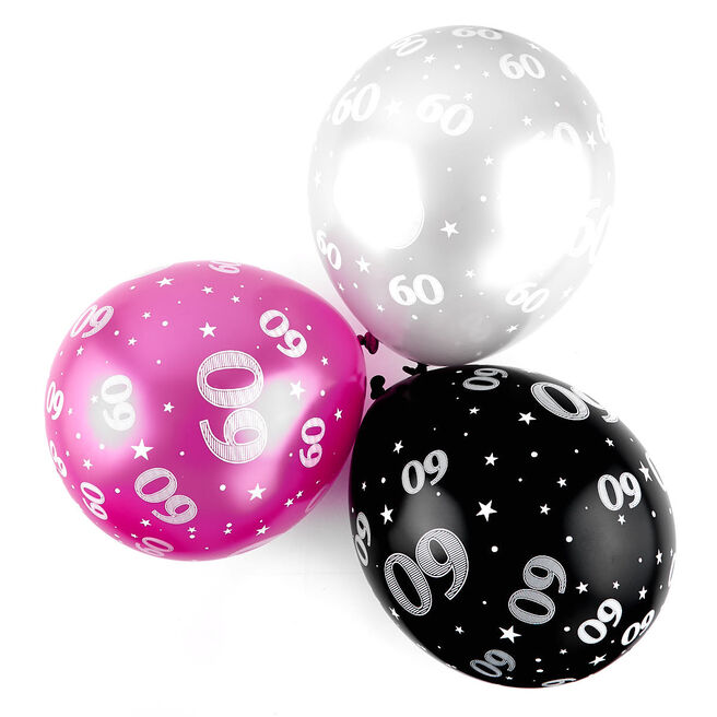 Pink 60th Birthday Helium Latex Balloons - Pack Of 6