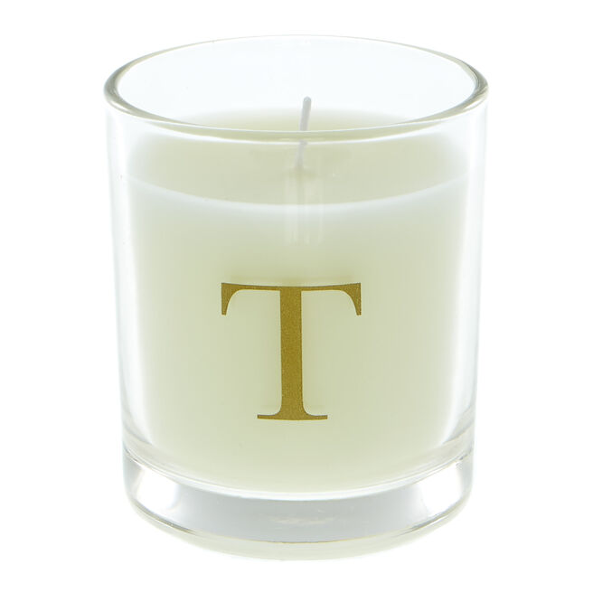 Letter T Warm Cashmere Scented Candle