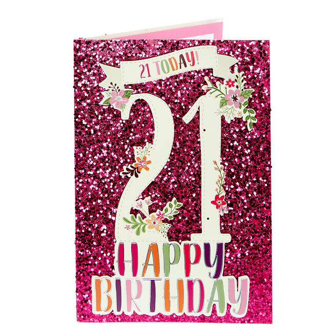 21st Birthday Card - Pink Glitter