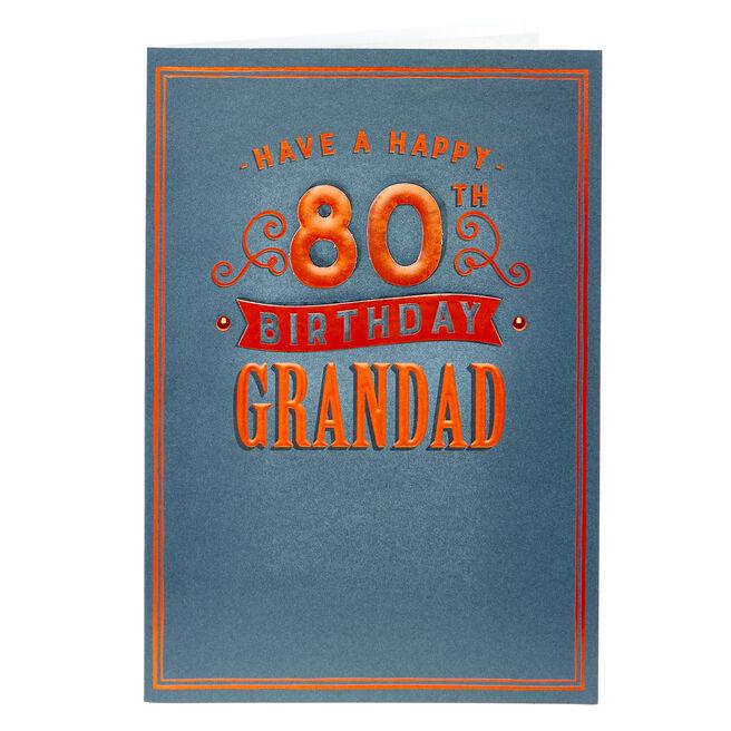 80th Birthday Card - Grandad, Blue & Red