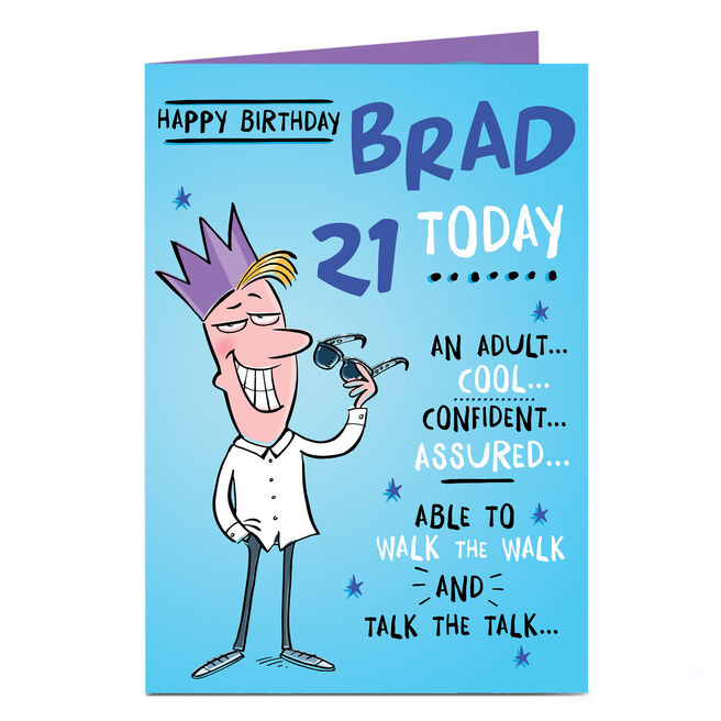 Personalised Any Age Birthday Card - Cool, Confident, Assured