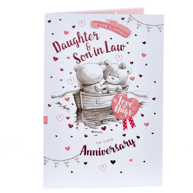 Hugs Bear Anniversary Card - Lovely Daughter & Son In Law