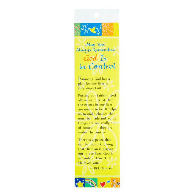 Blue Mountain Arts Bookmark - God Is In Control