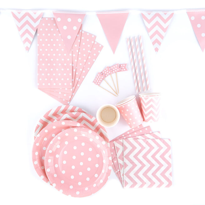 Pink Spots & Chevrons Party Tableware & Decoration Bundle - 102 Pieces