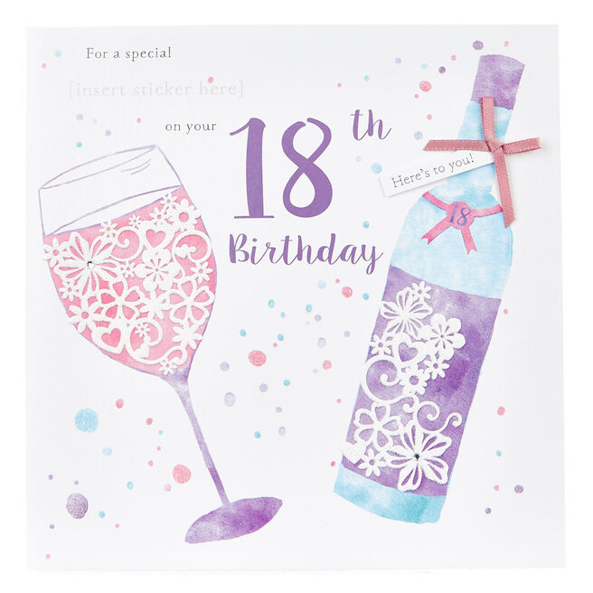 Exquisite Collection 18th Birthday Card - Any Female Recipient (Stickers Included)