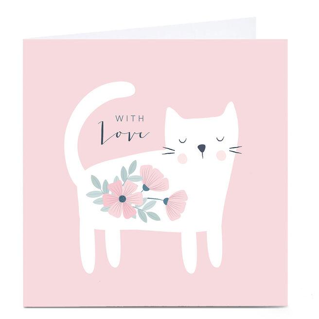 Personalised Klara Hawkins Card - With Love, Floral Cat