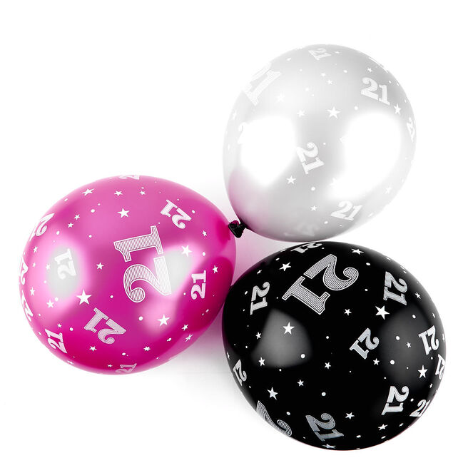 Pink 21st Birthday Balloons - Pack Of 6