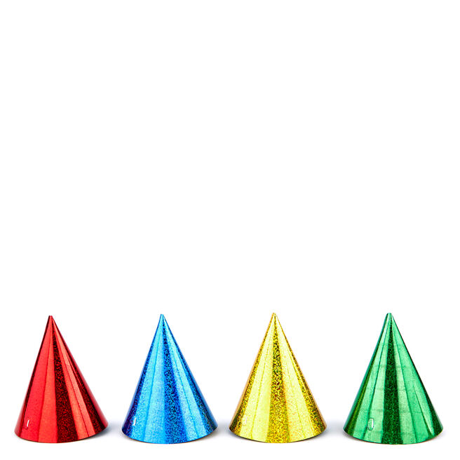Pack Of 8 Party Hats - Holographic