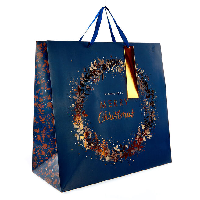 Extra Large Bronze Wreath Square Christmas Gift Bag