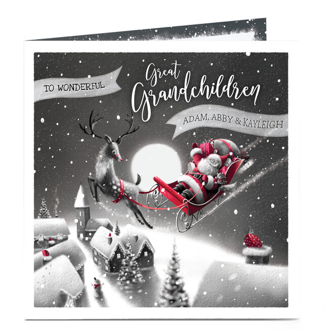 Personalised Christmas Card - For Wonderful Great Grandchildren
