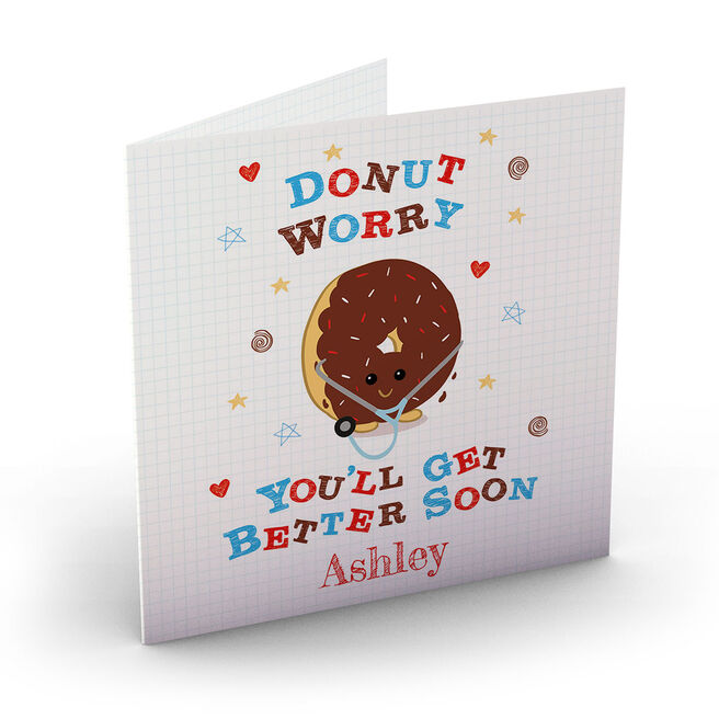 Personalised Get Well Soon Card - Donut Worry