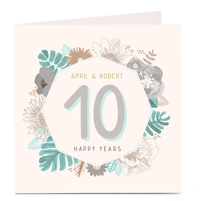 Personalised Anniversary Card - Palms and Flowers