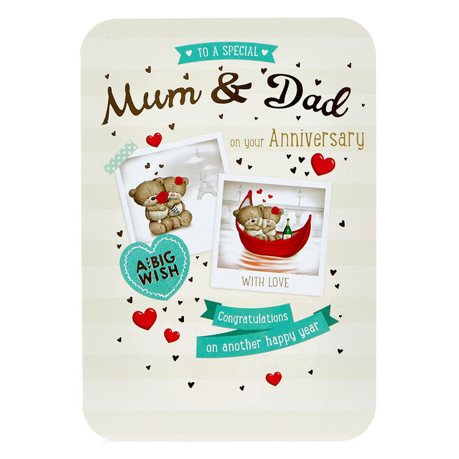 Anniversary Card - Mum & Dad, Hugs