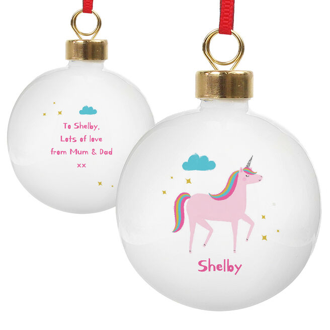 Personalised Ceramic Bauble - Unicorn