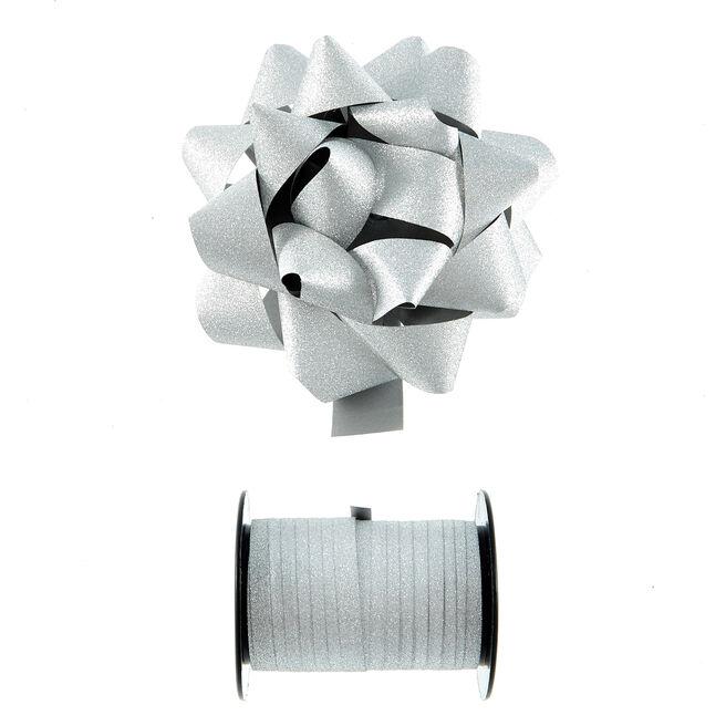 Silver Glitter Bow & Curling Ribbon