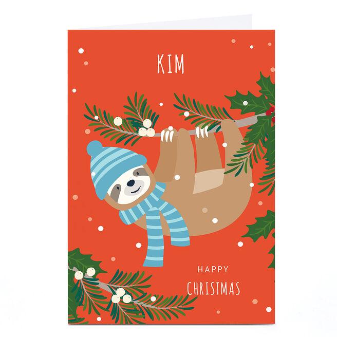 Personalised Klara Hawkins Christmas Card - Sloth