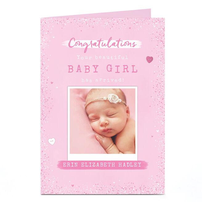 Personalised Photo  Card - New Baby Girl Polaroid