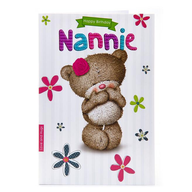 Hugs Bear Birthday Card - Nannie
