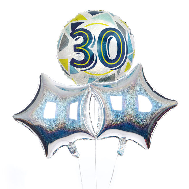 Geometric Blue & Yellow 30th Birthday Balloon Bouquet - DELIVERED INFLATED!
