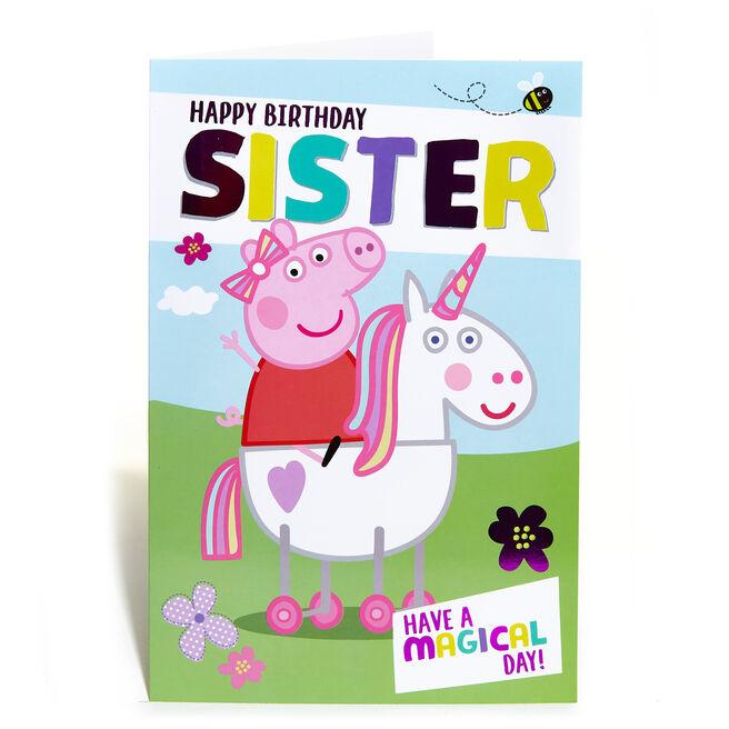 Peppa Pig Birthday Card - Sister