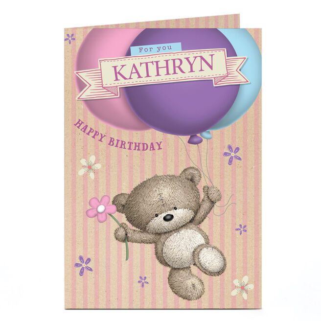 Personalised Hugs Bear Birthday Card - Balloons & Flowers