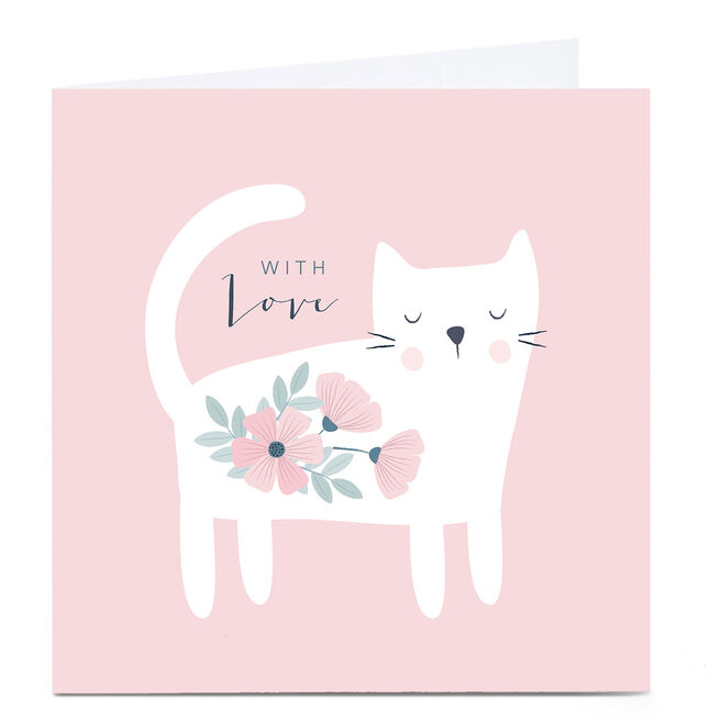 Personalised Klara Hawkins Card - With Love, Floral Cat