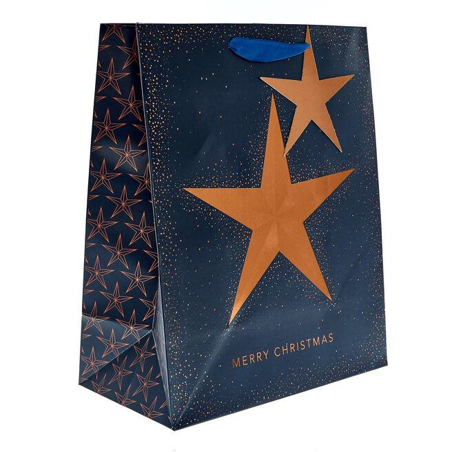 Medium Portrait Navy & Copper Star Christmas Gift Bag