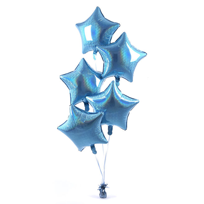 5 Baby Blue Stars Balloon Bouquet - DELIVERED INFLATED!
