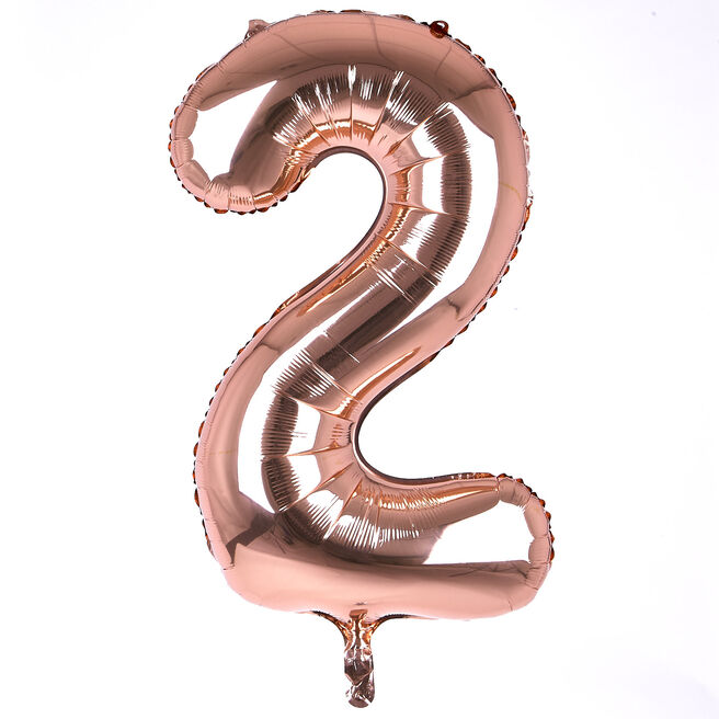 Rose Gold Number 2 Giant Foil Helium Balloon INFLATED