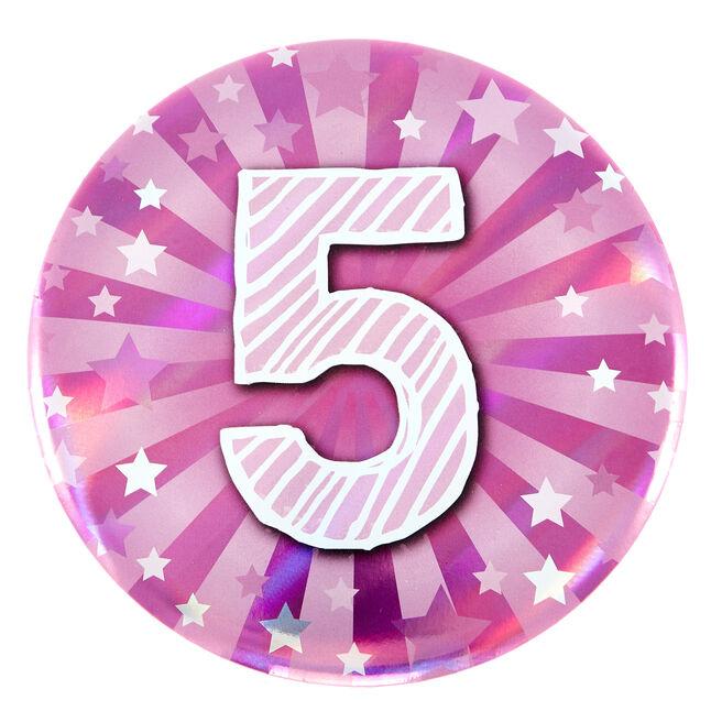 Giant 5th Birthday Badge - Pink