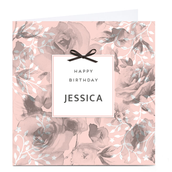 Personalised Birthday Card - Roses & Bow