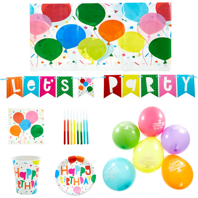 Colourful Birthday Balloons Party Tableware & Decorations Bundle - 88 Pieces