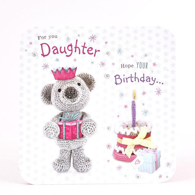 Boutique Collection Birthday Card - Daughter Knitted Bear