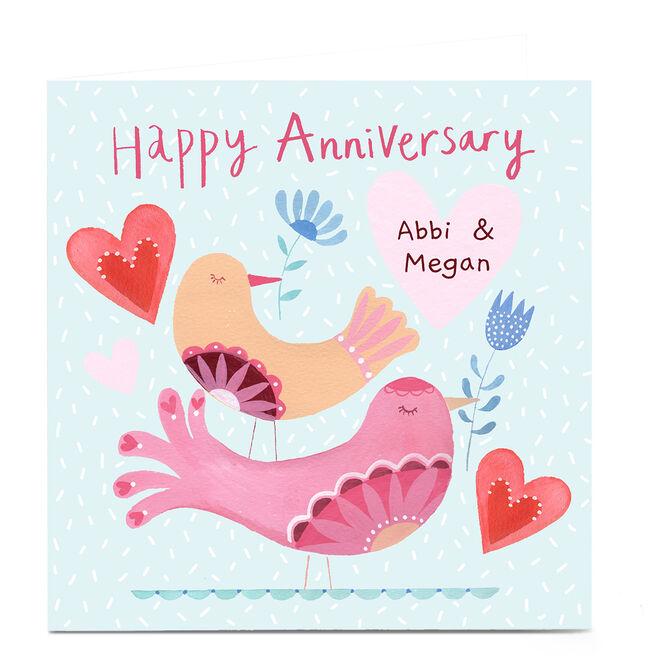 Personalised Lindsay Loves To Draw Anniversary Card - Two Birds