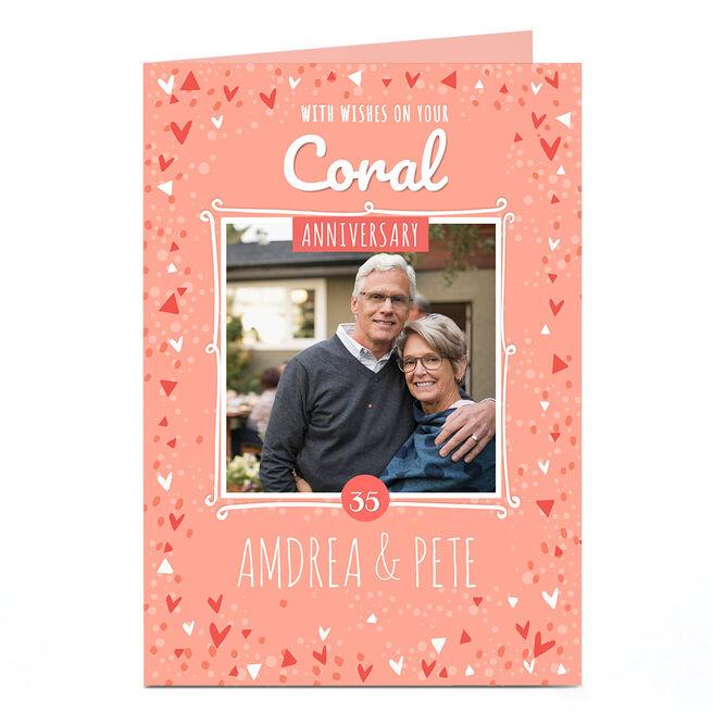 Personalised Anniversary Photo Card - Coral Anniversary