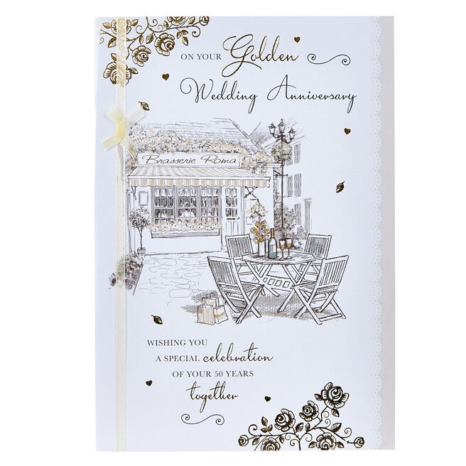 Golden Wedding Anniversary Card - Brasserie Scene