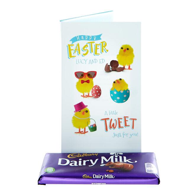 Personalised Cadbury Dairy Milk Easter Chicks Chocolate Card