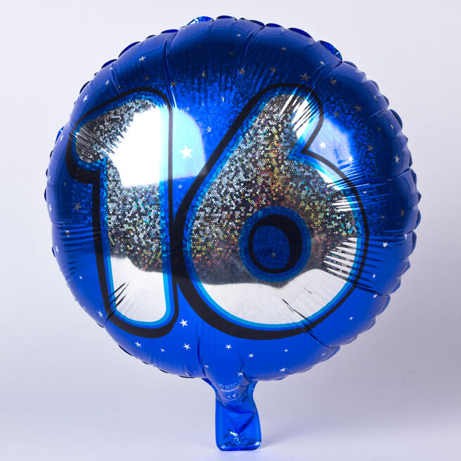 Holographic Blue Age 16 Foil Helium Balloon